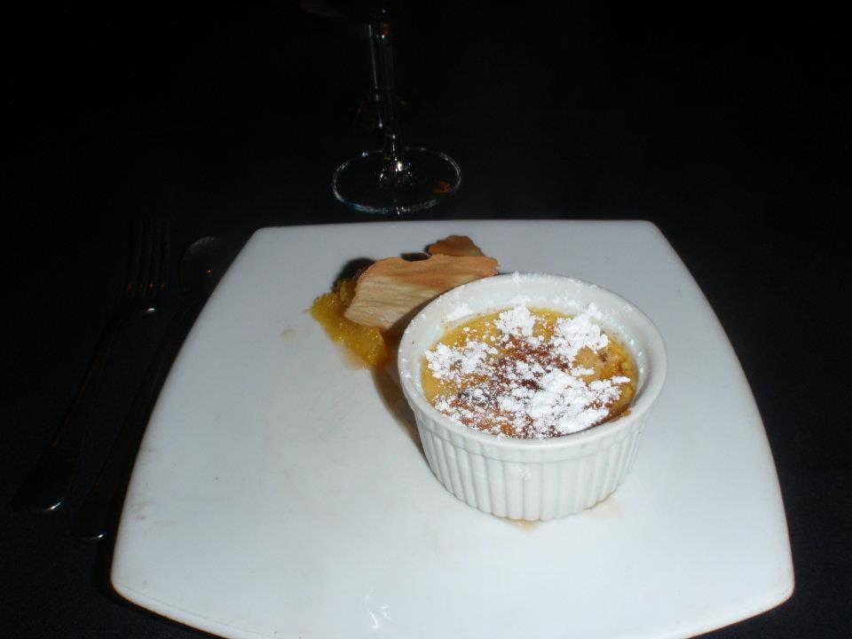 Brulee Manuka honey and saffron crème brulee with Cointreau marinated orange and ginger tullie
